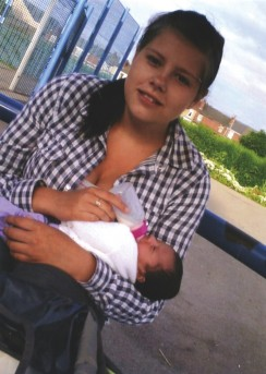 Sarah's sister Laura with her baby