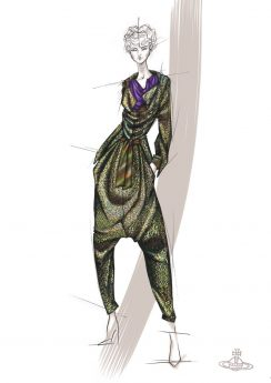 Sketch for Vivian Westwood jumpsuit for Fashion and Freedom
