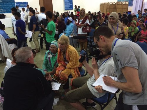 Milne at a clinic in Bangladesh filming the BBC documentary.