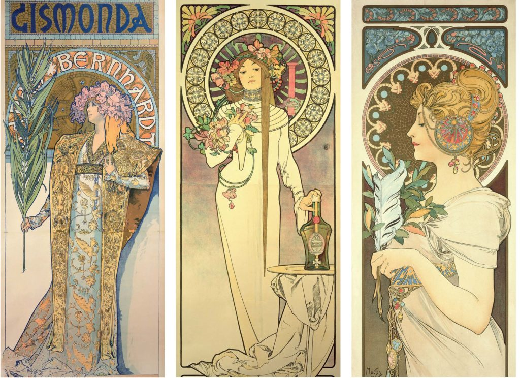 Left to right: Gismonda, 1894, featuring Sarah Bernhardt, whose collaboration proved fruitful; La Trappistine, 1897; and Feather, 1899