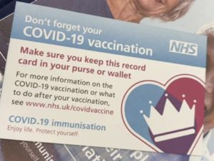 Vaccine card and leaflet.